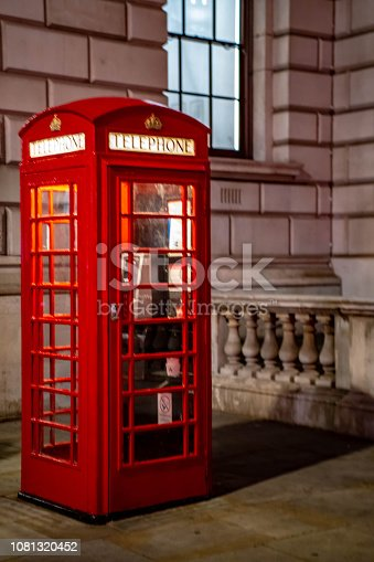 Iconic red British Telephone booth outside the Cabinet war rooms in London's Whitehall.