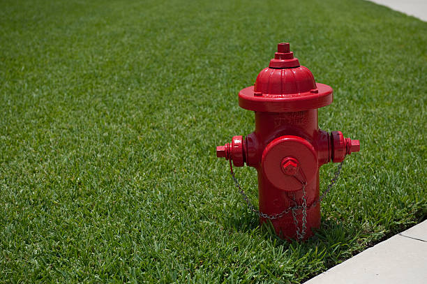 Iconic red fire hydrant against green grass Iconic red fire hydrant against green grass and sidewalk fire hydrant stock pictures, royalty-free photos & images