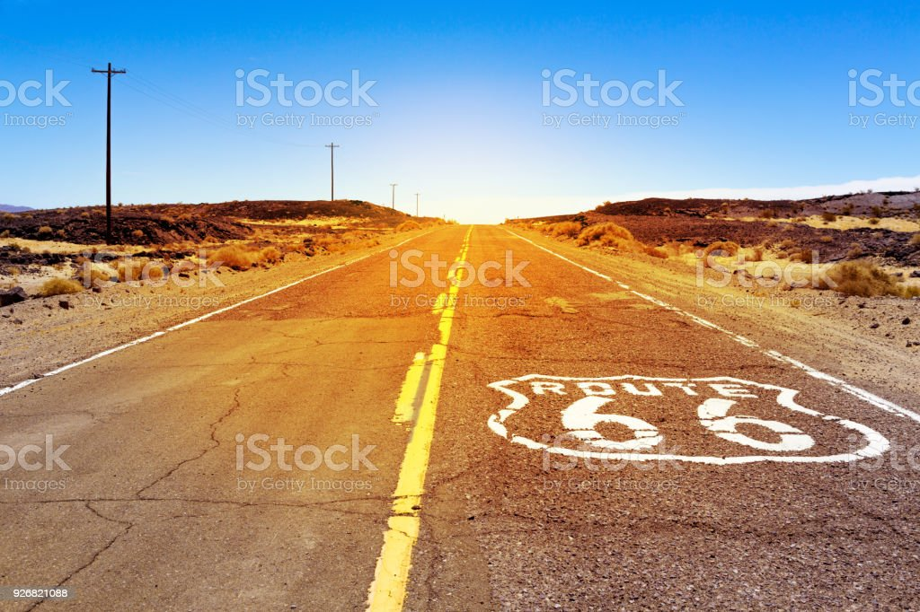 Iconic Route 66 sign in American desert land stock photo