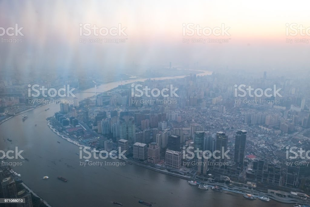 Iconic Shanghai from above the sky - Haze Pollution - Sunset - Yellow River stock photo