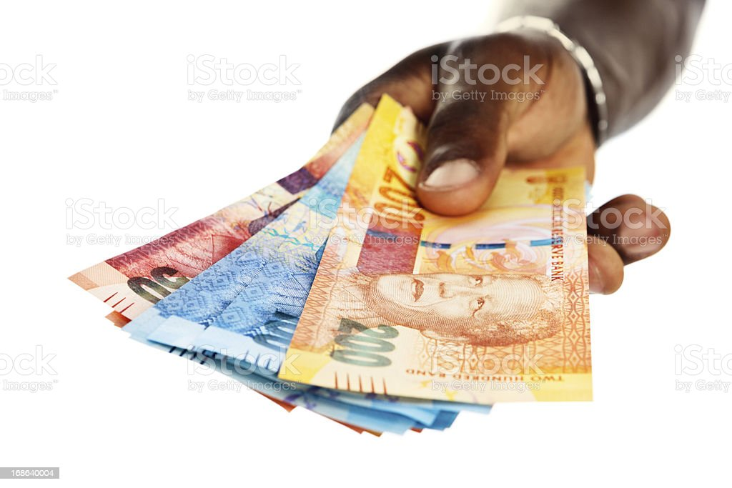 Iconic statesman Nelson Mandela features on new South African banknotes stock photo