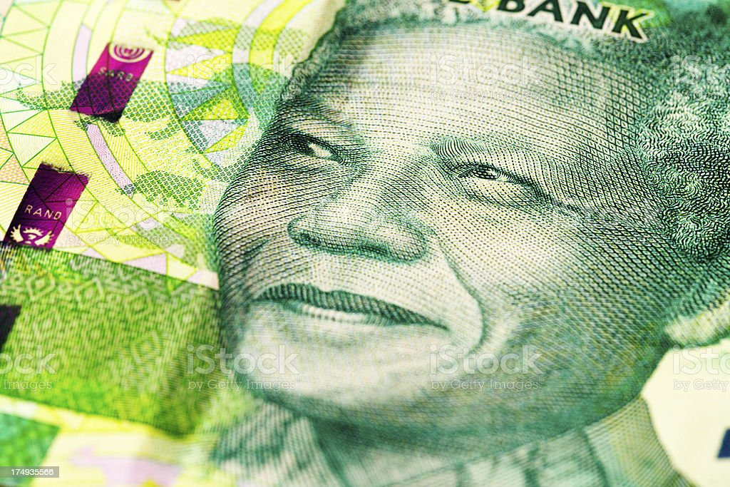 Iconic statesman Nelson Mandela on new South African banknote stock photo