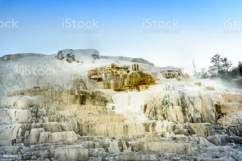 Iconic steaming geothermal feature at Mammoth Hot Springs on...
