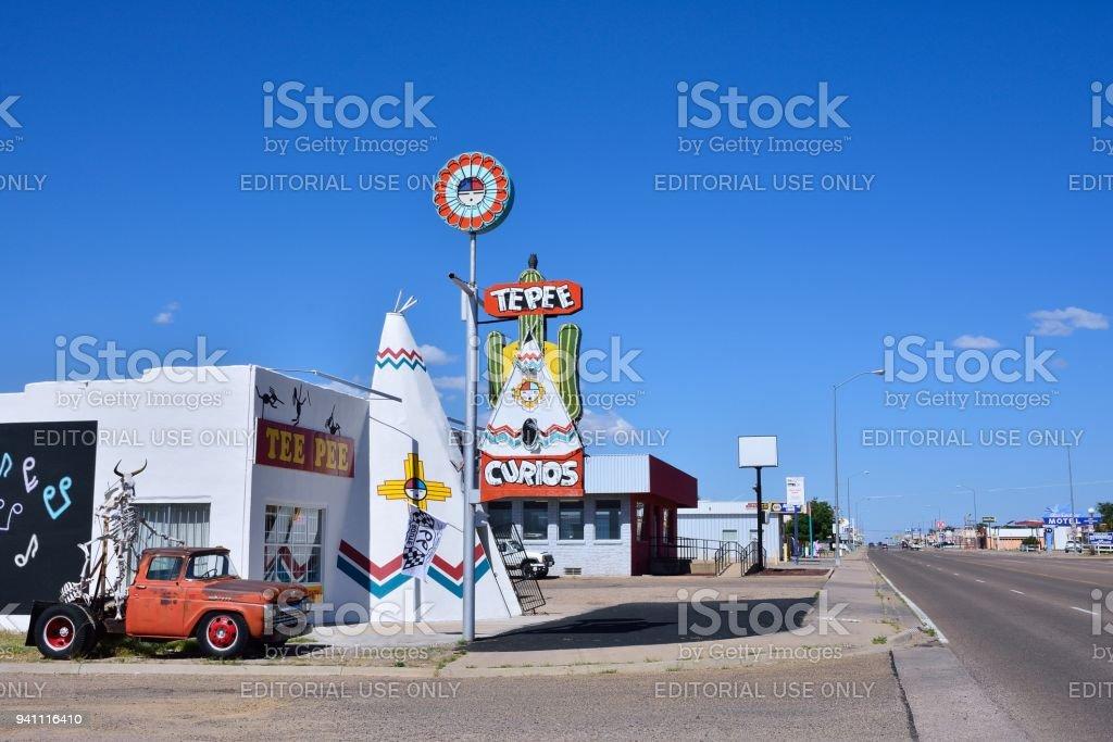 Iconic Tepee Curios tourist souvenir shop. stock photo