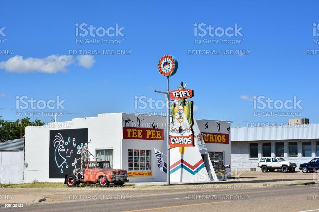 Iconic Tepee Curios tourist souvenir shop stock photo
