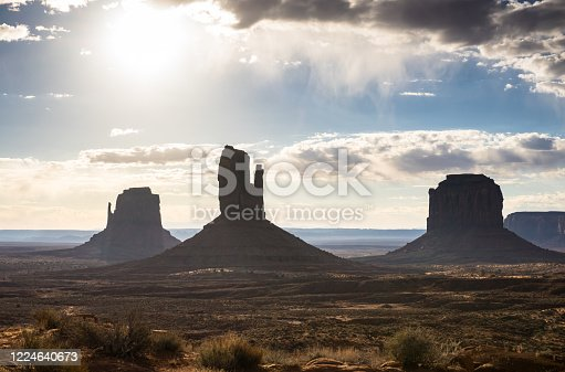 Monument Valley, looking towards the iconic Mitten Buttes and Merrick Butte.