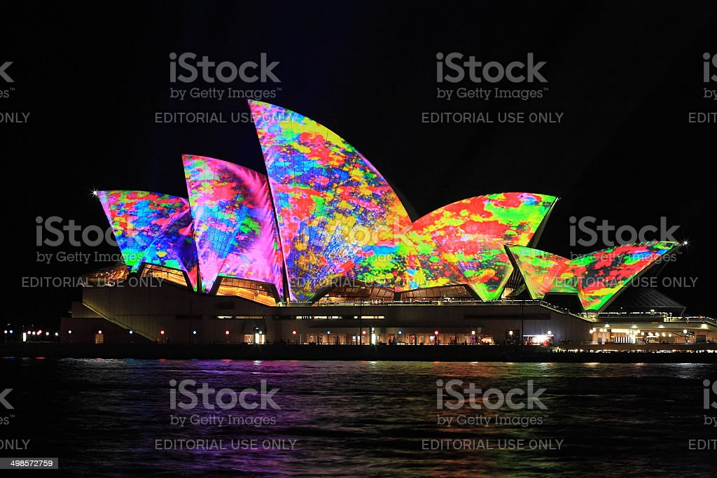 Iconict Sydney Opera House in bright colours stock photo
