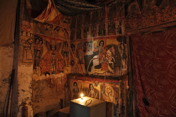 iconographic scenes and wall murals in Maryam Papasetti church stock photo