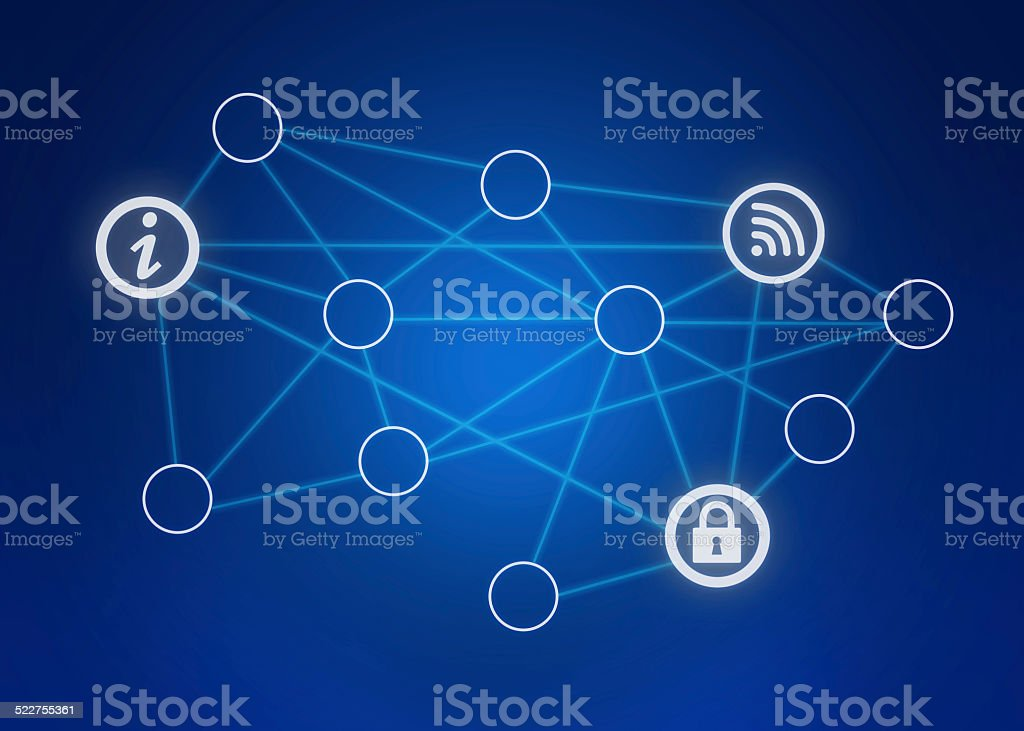 icons and circle lines in the combined network. stock photo