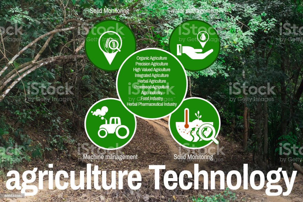 Icons idea about agricultural technology background jungle in Burma stock photo