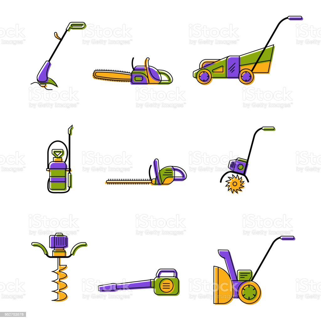 Icons of gardening power tools stock photo