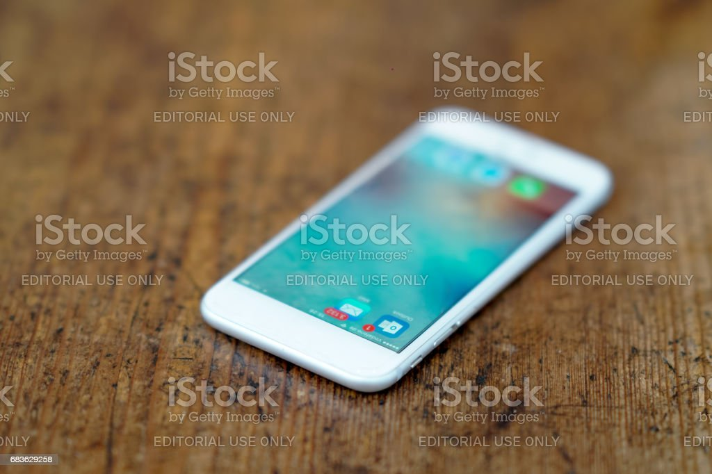 Berlin, Germany - May 4, 2017: icons on an iPhone smartphone. Selective focus stock photo