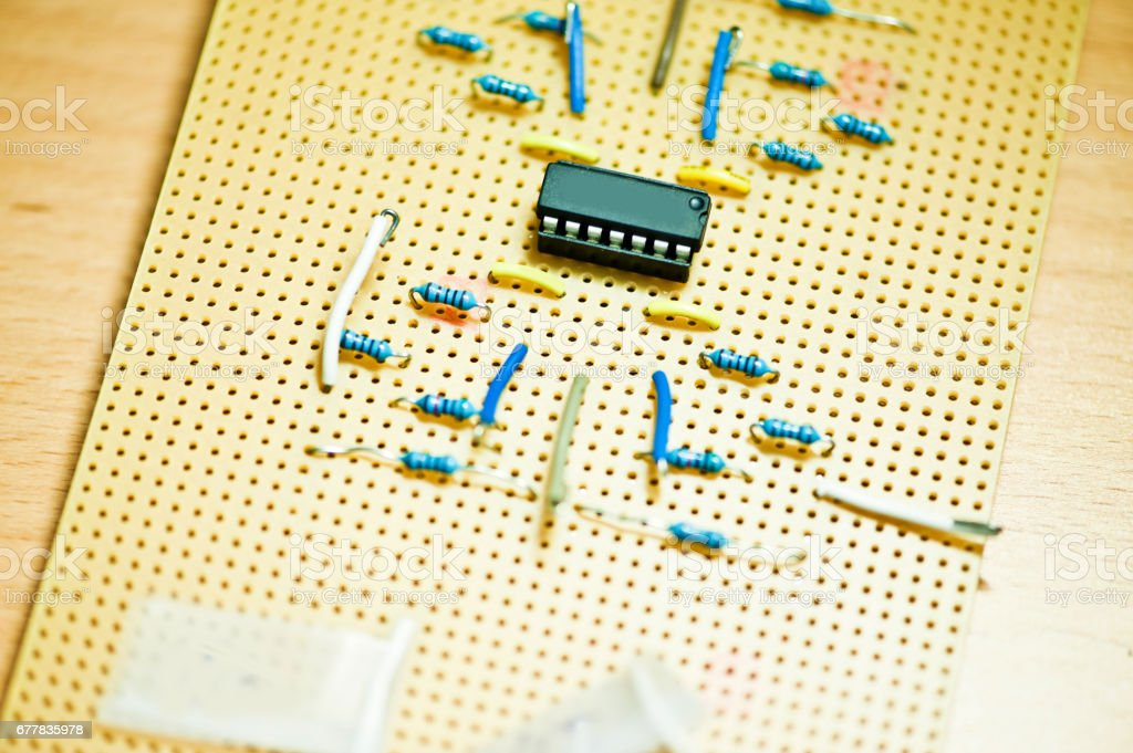 ICs and Electronic Components On A Bread Board royalty-free stock photo