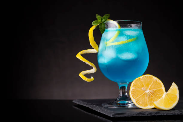 Icy blue lagoon cocktail stock photo