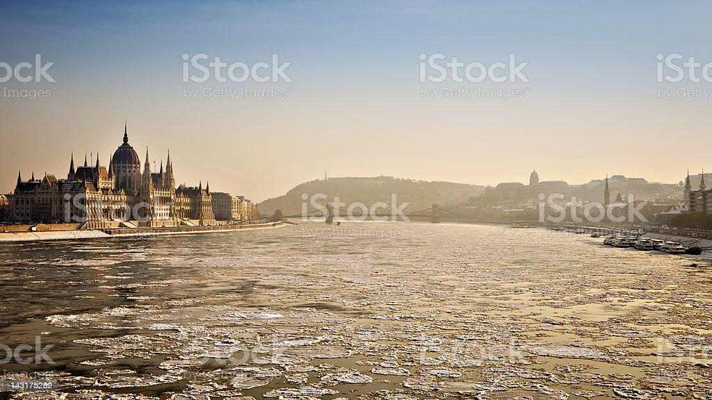 Icy Budapest royalty-free stock photo