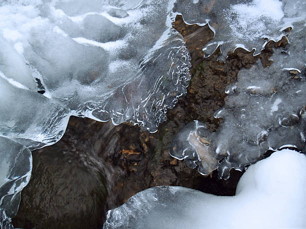 Icy Forms in Wintry Mountain Creek in Poconos stock photo