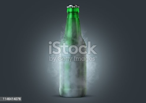 An icy cold green glass beer bottle covered in frost and exuding ice sublimation on an isolated dark studio background - 3D render