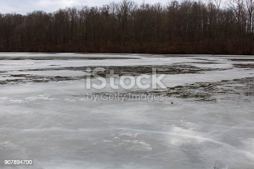 The icy frozen lake at the park on a cloudy winter day,