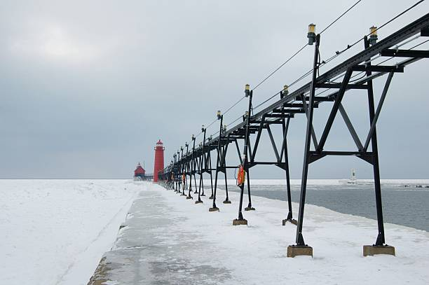 Icy Grand Haven stock photo