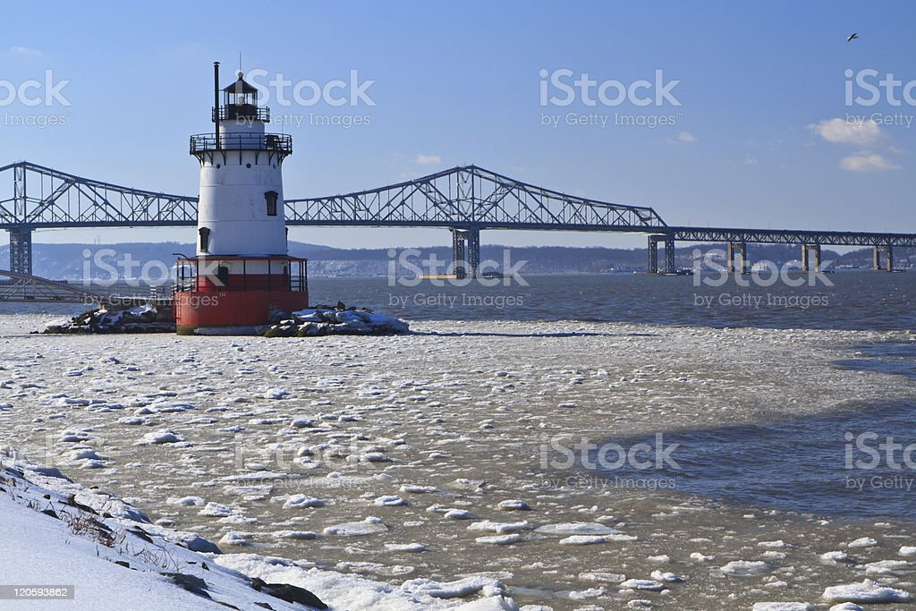 Icy Hudson and Lighthouse stock photo