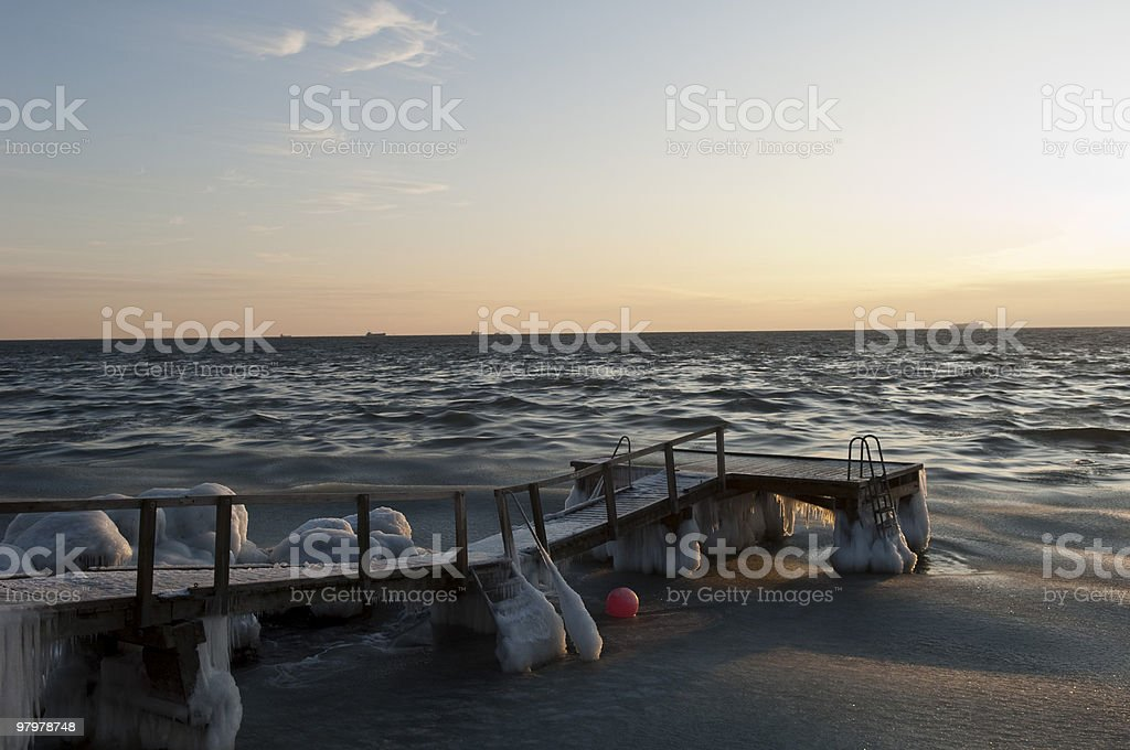 icy pier royalty-free stock photo