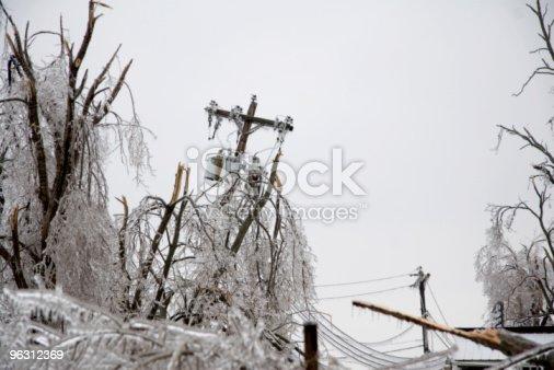 istock Icy Power Pole Falling 96312369