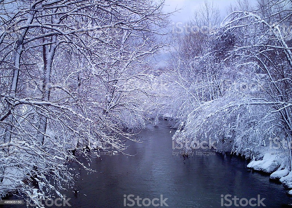 Icy River stock photo