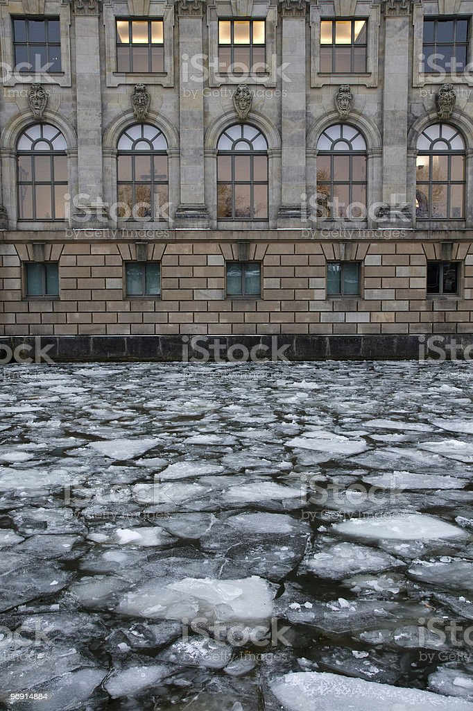 Icy River Spree in front of the Bodemuseum, Berlin royalty-free stock photo