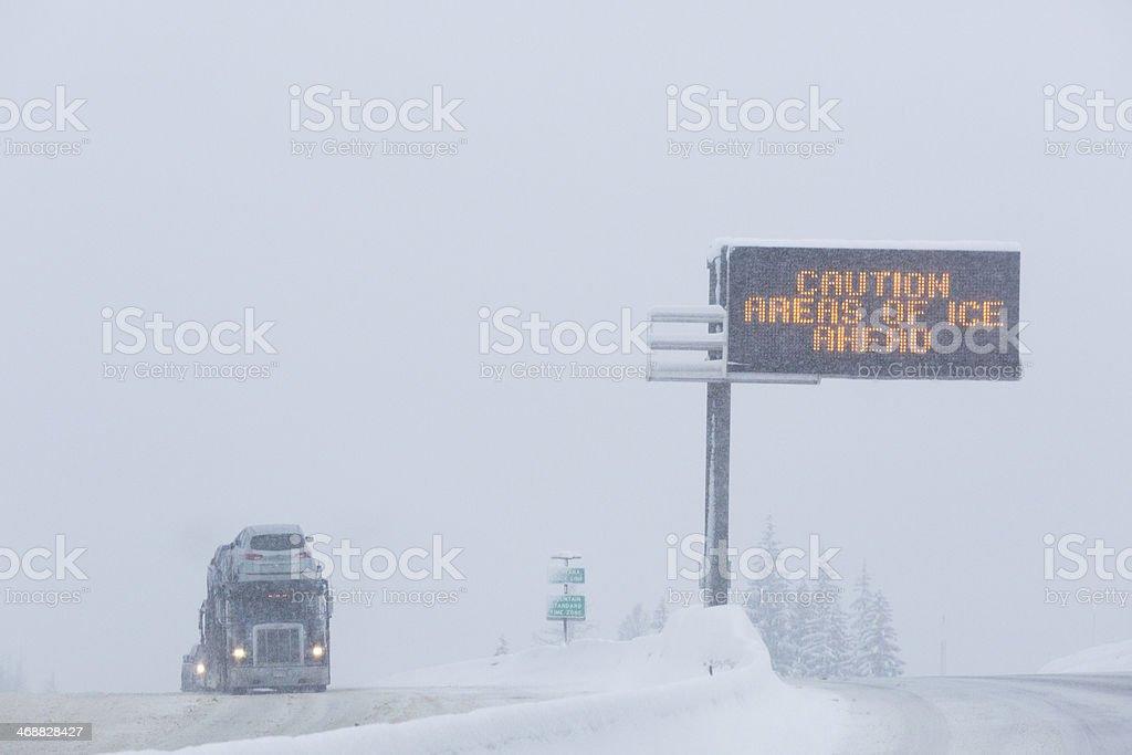 Icy Road Conditions Semitruck Montana Idaho Border Lookout