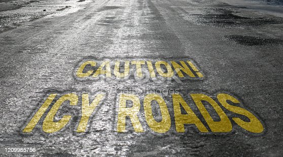 833130962 istock photo Icy road. Selective focus. Danger concept ice-crusted ground. With the inscription