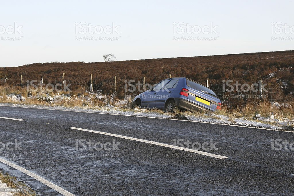 icy roads, crashed car, skidded into ditch stock photo