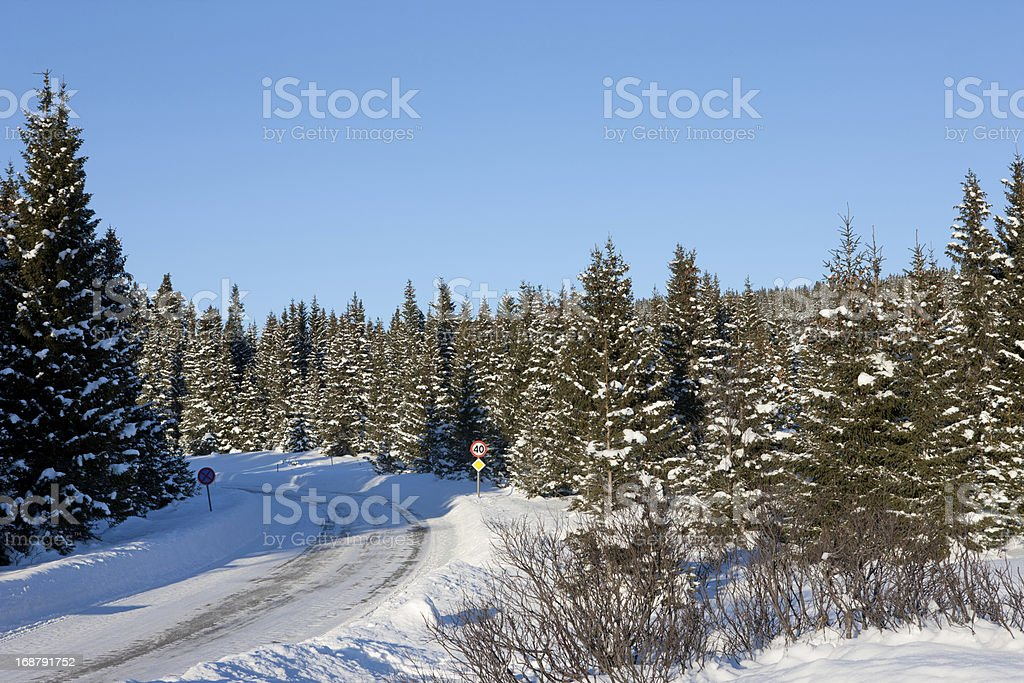 Icy roads on the hills of Lillehammer Norway royalty-free stock photo