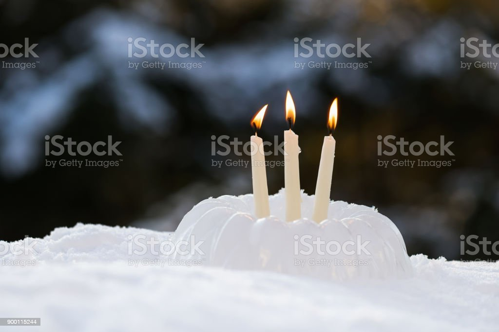 Miraculous Icy Sculpture Of Frozen Birthday Cake With Candles In Snow Stock Birthday Cards Printable Nowaargucafe Filternl
