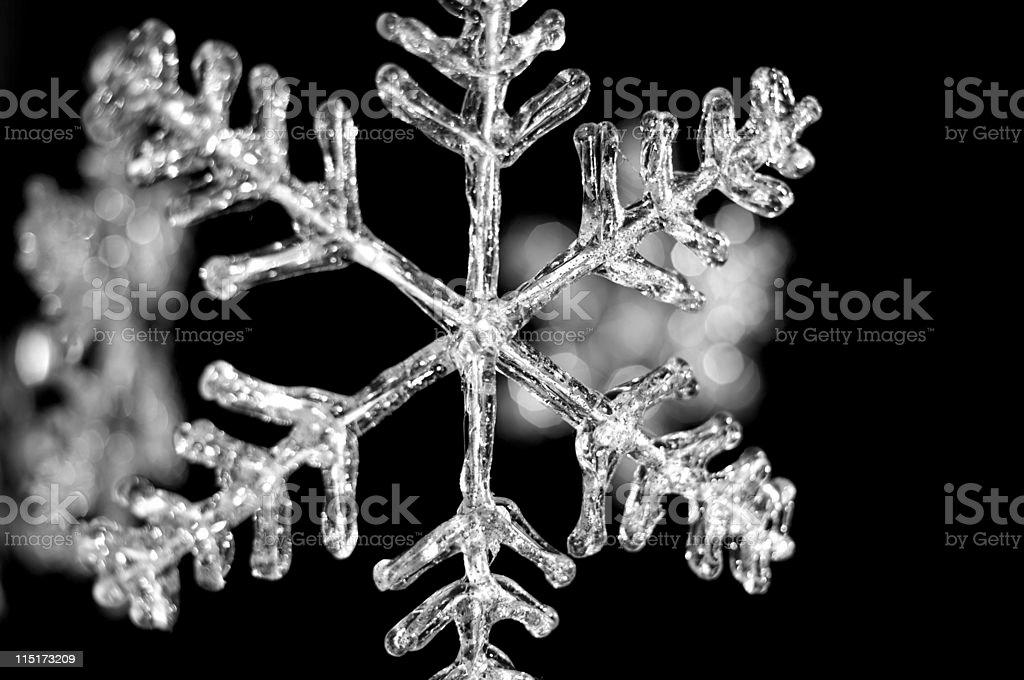 icy snowflake on black royalty-free stock photo