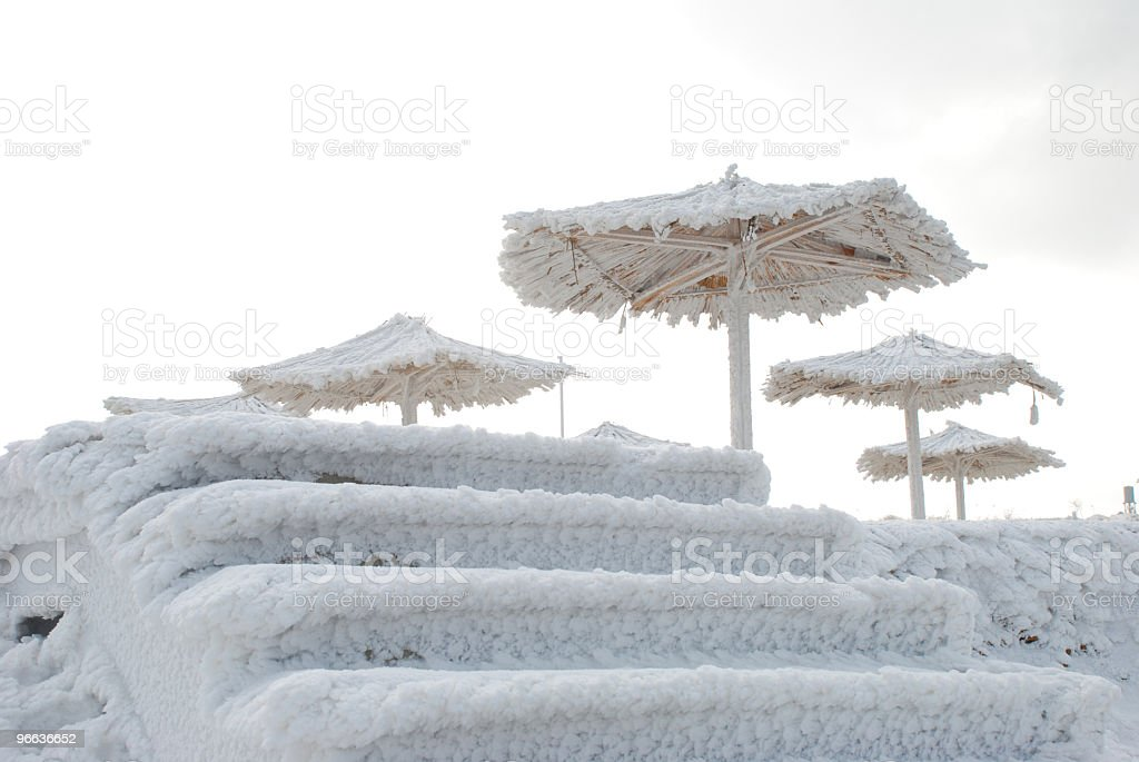 icy stairway to the beach in winter royalty-free stock photo