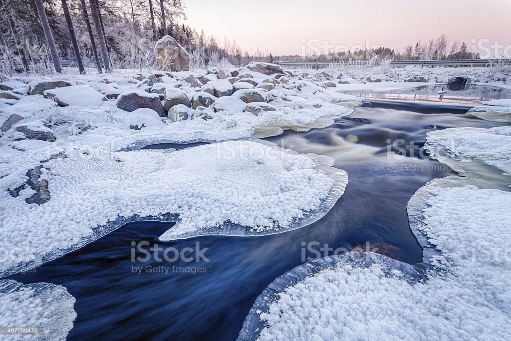Icy Sunset on the River stock photo