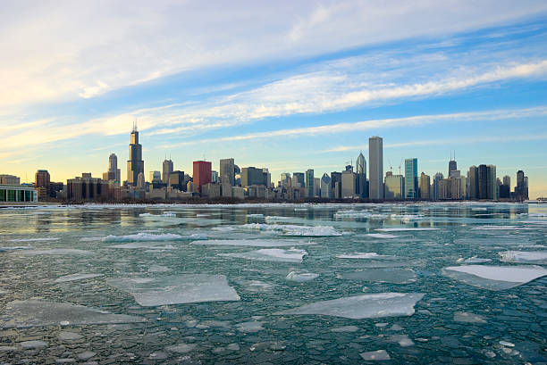 Icy View of the Chicago Skyline stock photo