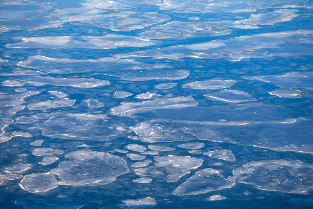 Icy water on the North sea, close up picture stock photo
