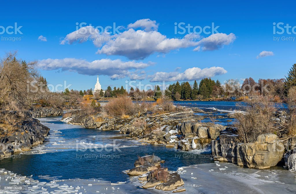 Idaho Falls waterfall,  landmark , Snake River, ID, winter stock photo