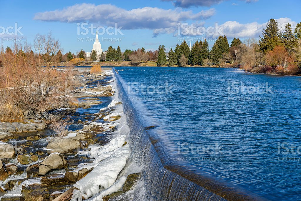 Idaho Falls waterfall,  landmark, Snake River, ID, winter stock photo