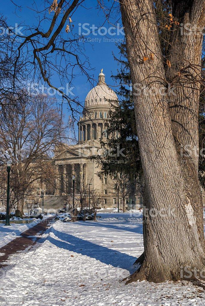 Idaho state capital winter with sidewalk royalty-free stock photo