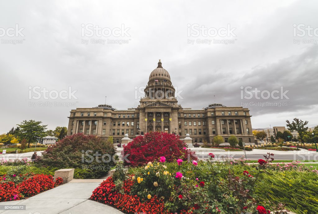 Idaho State Capitol Building with Spring Flowers stock photo