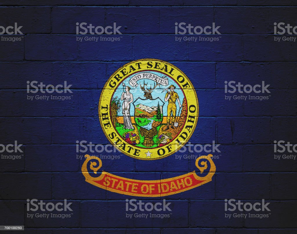 Idaho state flag painted on a wall stock photo