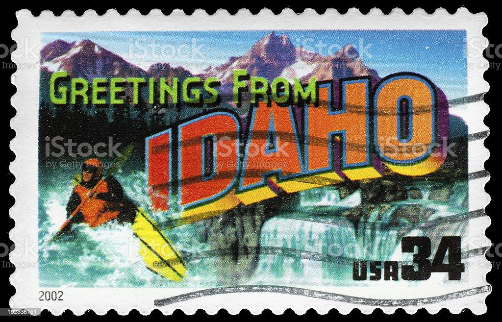 Idaho State Postage Stamp 'Greetings From America' Retro Postcard Theme stock photo