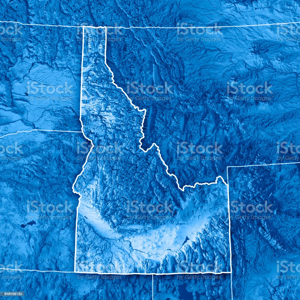 Idaho State USA 3D Render Topographic Map Blue Border stock photo