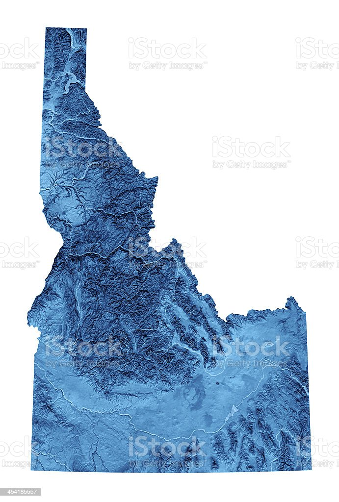 Idaho Topographic Map Isolated Stock Photo & More Pictures of Blue ...