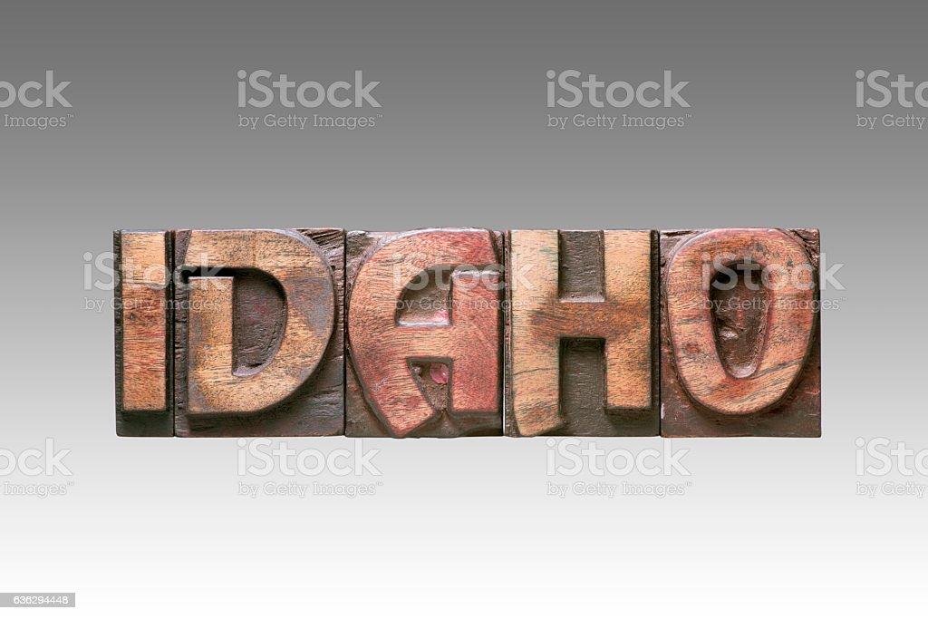 Idaho vintage type stock photo