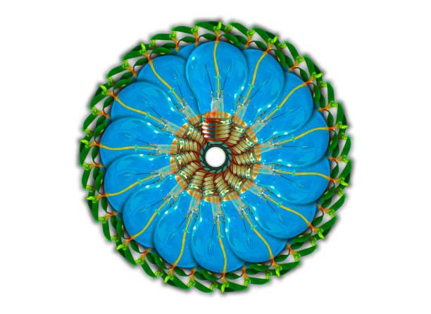 Ide blomma, glödlampor med grodd i virvel, forskning och utveckling med miljöhänsyn Ide blomma, glödlampor, blå  med grodd i virvel, forskning och utveckling med miljöhänsyn forskning stock pictures, royalty-free photos & images