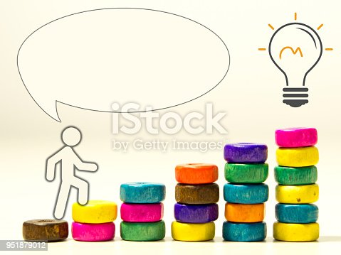 958939552istockphoto idea and purpose - oriented concept visual. blank text cloud and person climbing up stairs 951879012