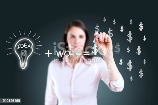istock Idea and work can make lots of money equation. 510156469